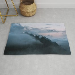Dolomite Mountains Sunset covered in Clouds - Landscape Photography Rug