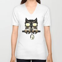 inside gaming V-neck T-shirts featuring Gaming Owl by AneNj
