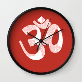 Start your day with OM on Red Colour Wall Clock