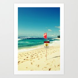sunset beach flag Art Print
