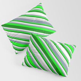 Eyecatching Light Gray, Light Slate Gray, Lime, Green, and White Colored Striped Pattern Pillow Sham