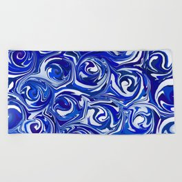 China Blue Paint Swirls Beach Towel