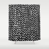 lawyer Shower Curtains featuring Hand Knitted Black S by Project M
