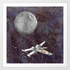 A War in the Stars in Watercolors Art Print
