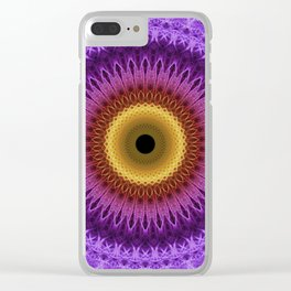 Violet, red and yellow mandala Clear iPhone Case