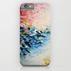 PARADISE DREAMING Colorful Pastel Abstract Art Painting Textural Pink Blue Tropical Brushstrokes Slim Case iPhone 6