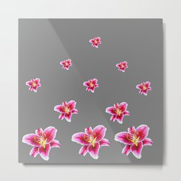 STRAWBERRY COLORED ASIAN LILIES GREY ART Metal Print
