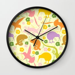 Animals Exotic Pastel Colors Shapes Pattern Wall Clock