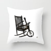 banjo Throw Pillows featuring Grandma's Banjo by LeahOwen