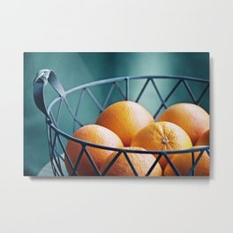Orange Fruit Photography, Teal Kitchen Photograph,Turquoise Dining Room Photo Print Metal Print