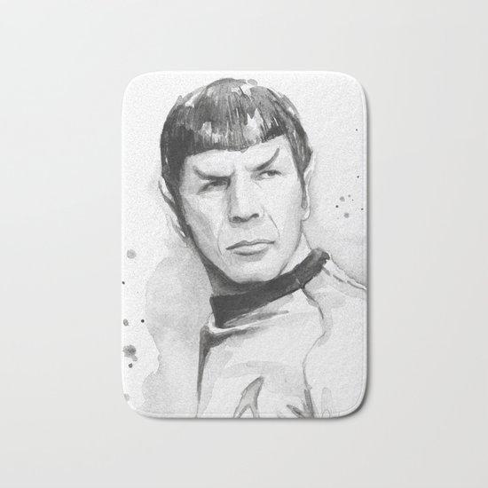 Spock Portrait Watercolor Sci-fi Geek Art Bath Mat