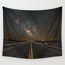 Go Beyond - Road Leads Into Milky Way Galaxy Wall Tapestry