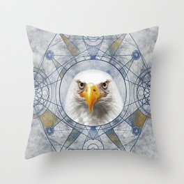 Eagle Sacred Geometry Digital Art Throw Pillow