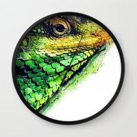 chameleon Wall Clocks featuring chameleon by jbjart