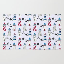 Watercolor Lighthouses Rug