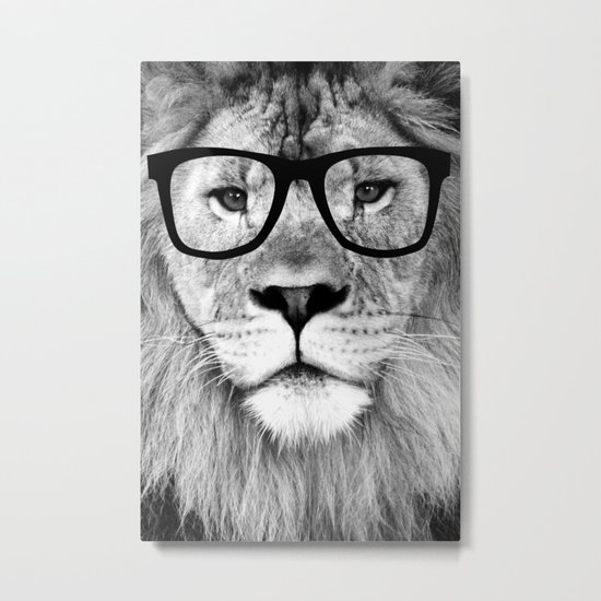 Hippest Lion with glasses - Black and white photograph Metal Print