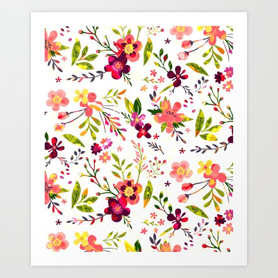 Colorful floral pattern  #society6 Art Print