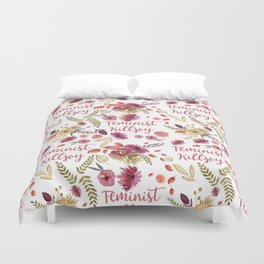 'Feminist Killjoy' cute floral print Duvet Cover