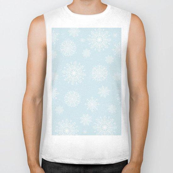 Assorted White Snowflakes On Light Blue Background Biker Tank