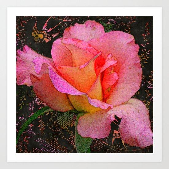 Rose on Black Art Print