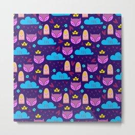 Whimsical fox rain and hearts abstract pattern Metal Print