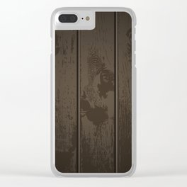 Dark Wood Fence Pattern Clear iPhone Case