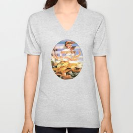 Glitch Pin-Up Redux: Xena Unisex V-Neck