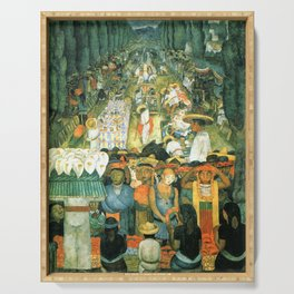 Diego Rivera Friday of Sorrows on the Canal Santa Anita, Mexico with Calla lilies landscape painting Serving Tray