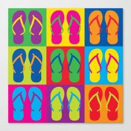 Pop Art Flip Flops Canvas Print