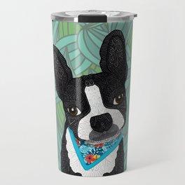 Tropical Boston Terrier Boy Travel Mug