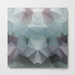 Abstract geometric polygonal pattern in grey and green tones . Metal Print