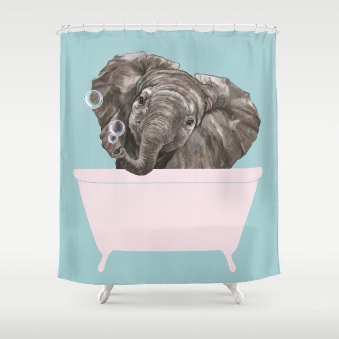 Baby Elephant in Bathtub Shower Curtain