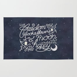 Oscar Wilde Moon Books Quote Calligraphy Stars Rug