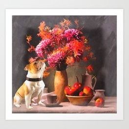 Still - Floral And Fruit By Liane Wright Art Print