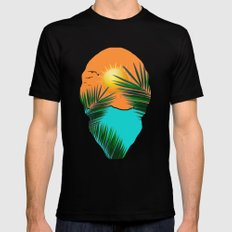 Palm in the sun Mens Fitted Tee Black MEDIUM
