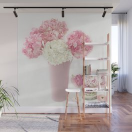 Shabby Chic Pink and White Hydrangeas Floral Print Home Decor Wall Mural