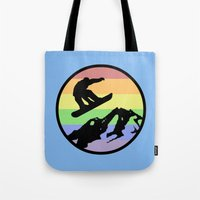 snowboarding Tote Bags featuring snowboarding 2 by Paul Simms
