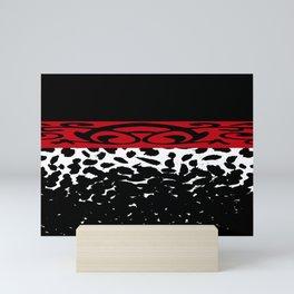 Animal Print Cheetah Leopard Black White Red Mini Art Print