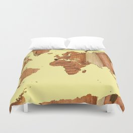 Wood bark - Yellow - Organic World Map Series Duvet Cover