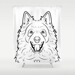 Samoyed Line Drawing Shower Curtain