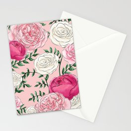 Rose Florals and Stems in Blush Stationery Cards