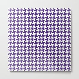 Indigo Purple Houndstooth Pattern Metal Print