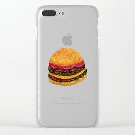 Watercolor hamburger Clear iPhone Case