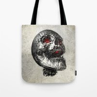 cyberpunk Tote Bags featuring No Laughing Matter (background option) by Obvious Warrior
