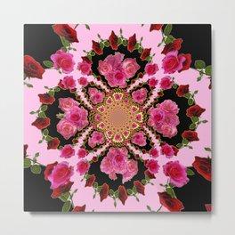 BLACK-PINK GARDEN ROSES MANDALA Metal Print