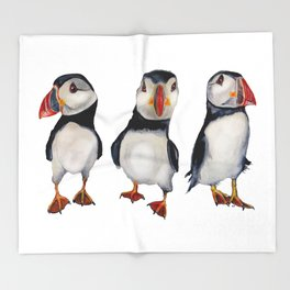 Puffins in september Throw Blanket