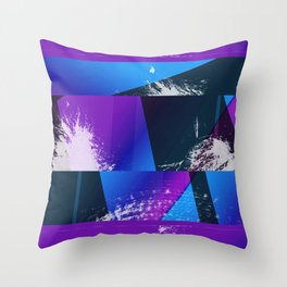 Purple and Cyan Abstract Glitch Collage Throw Pillow