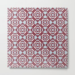Simple geometric stripe flower red and blue Metal Print