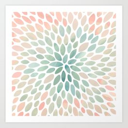 Floral Bloom, Abstract Watercolor, Coral, Peach, Green, Floral Prints Art Print