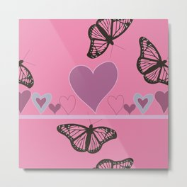 Hearts and Butteflies Metal Print